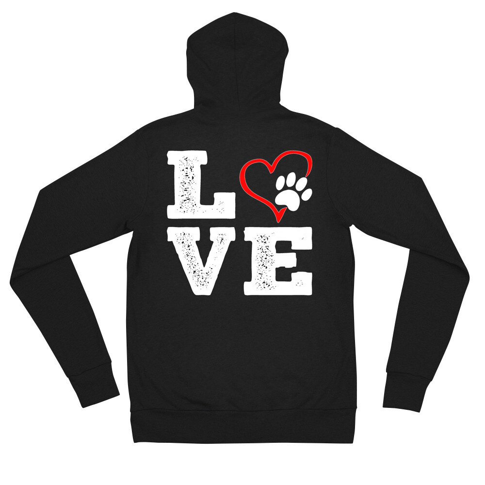 LOVE PAWS - Unisex - Lightweight Zip Hoodie - Bella+Canvas 3939