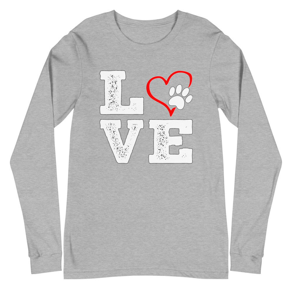 LOVE PAWS - Unisex - Long Sleeve Tee - Bella+Canvas 3501