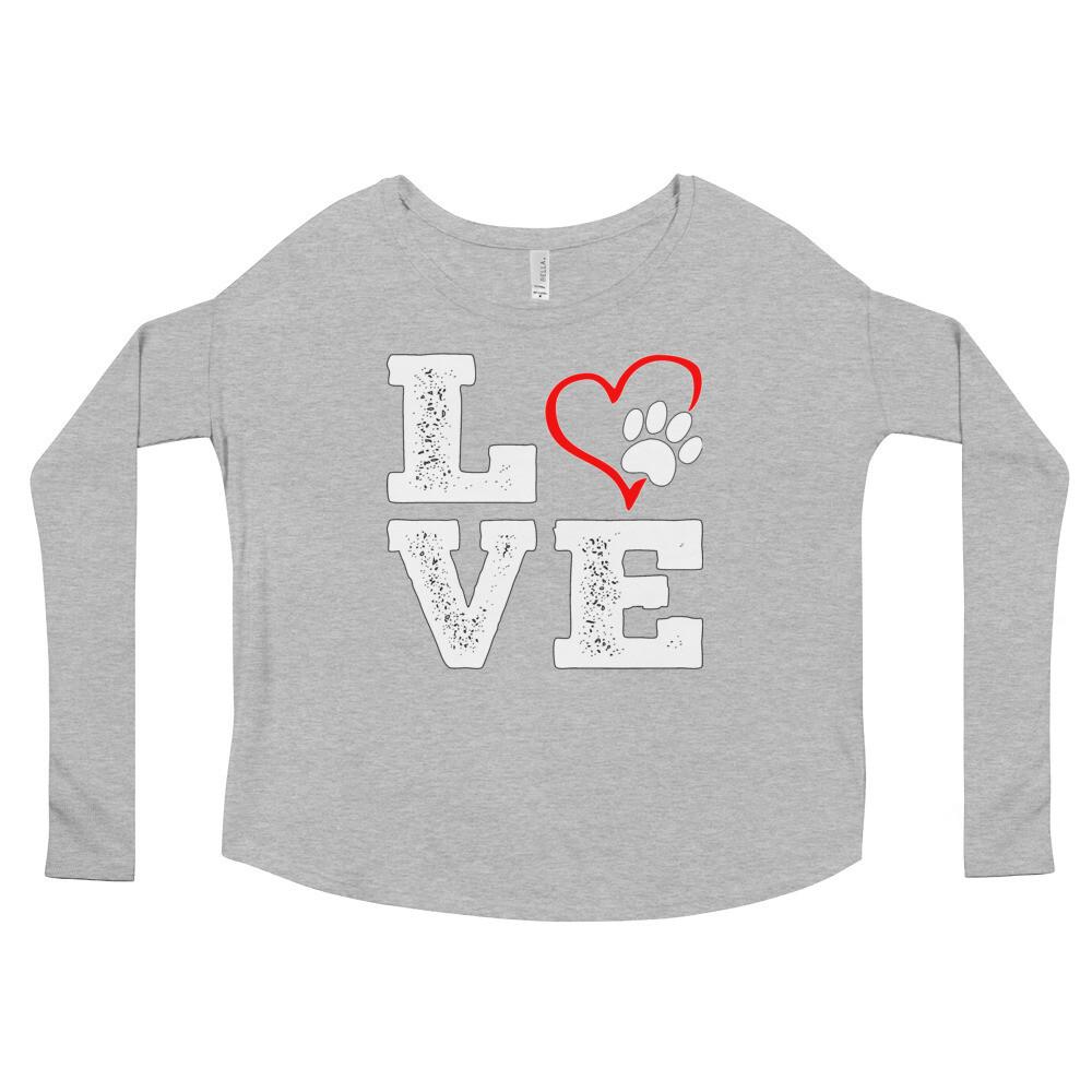 LOVE PAWS - Women's - Flowy Long Sleeve Shirt - Bella+Canvas 8852