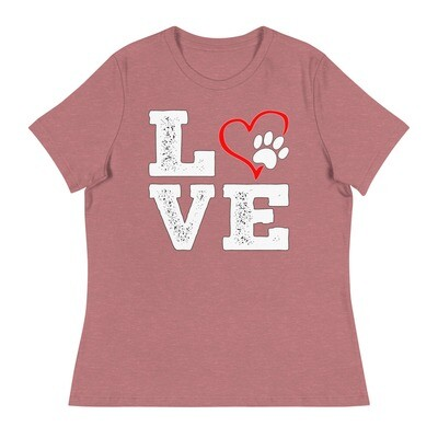 LOVE PAWS - Women's - Relaxed T-Shirt - Bella+Canvas 6400