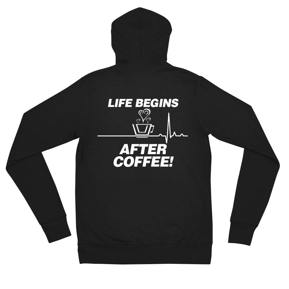Life Begins After Coffee - Unisex - Lightweight Zip Hoodie - Bella+Canvas 3939
