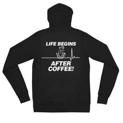 Life Begins After Coffee - Unisex - Lightweight Zip Hoodie - Bella+Canvas 3939