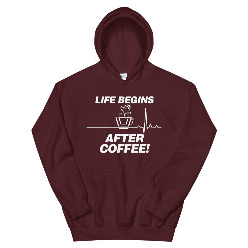 Life Begins After Coffee - Unisex - Heavy Blend Hoodie - Gildan 18500