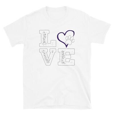 LOVE PAWS purple - Unisex - Basic Softstyle T-Shirt - Gildan 64000