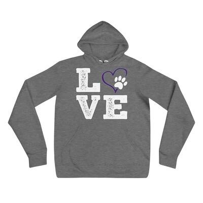 LOVE PAWS purple - Unisex - Lightweight Pullover Hoodie - Bella+Canvas 3719