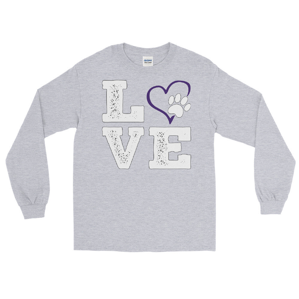 LOVE PAWS purple - Unisex - Long Sleeve Shirt - Gildan 2400