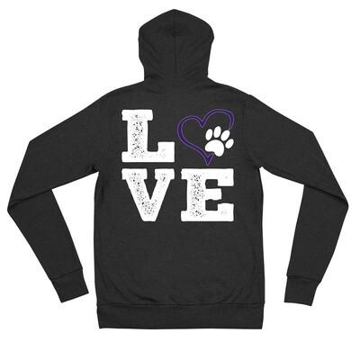 LOVE PAWS purple - Unisex - Lightweight Zip Hoodie - Bella+Canvas 3939
