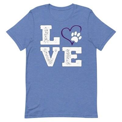 LOVE PAWS purple - Unisex - Premium T-Shirt - Bella+Canvas 3001