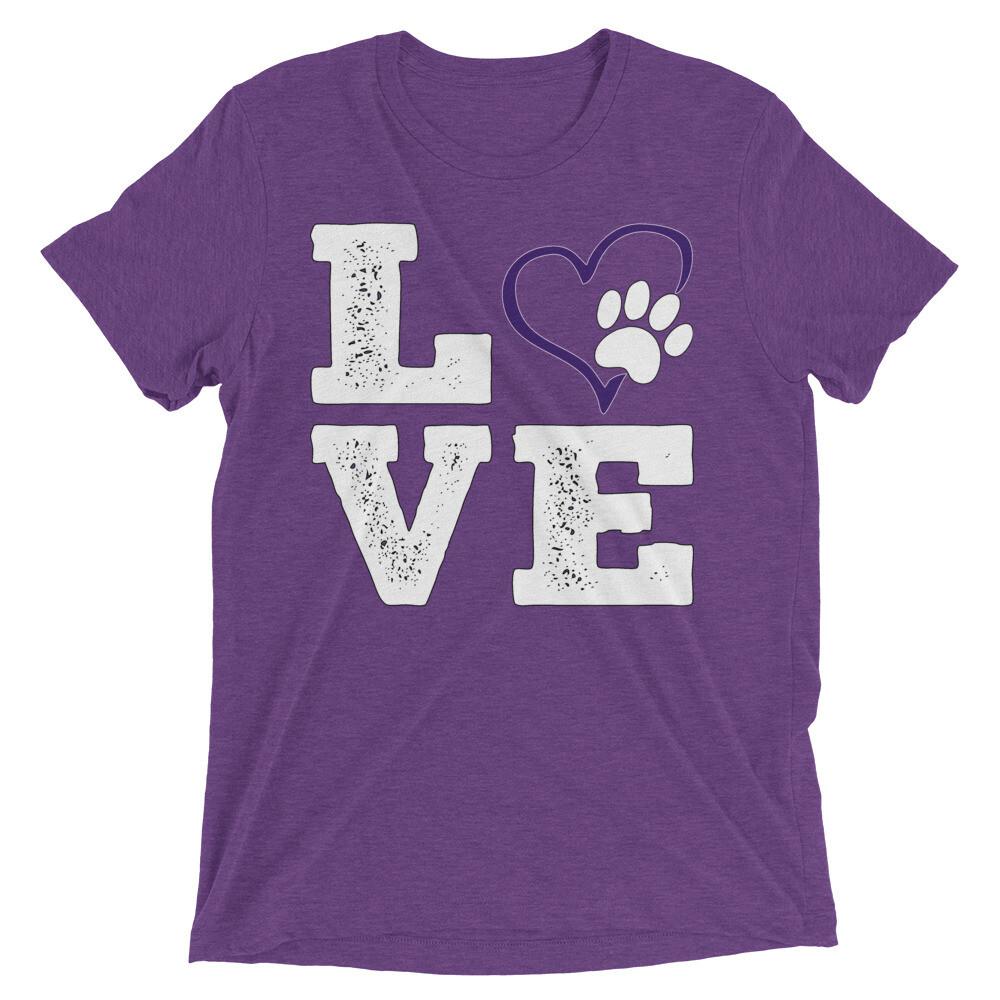 LOVE PAWS purple - Unisex - Tri-Blend Tee - Bella+Canvas 3413