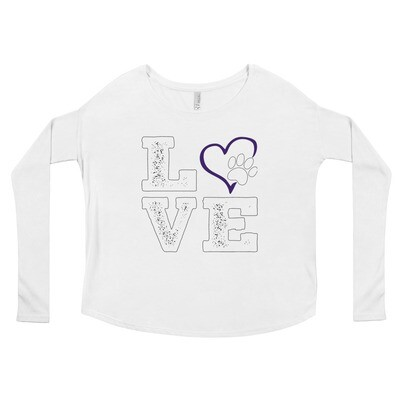 LOVE PAWS purple - Women's - Flowy Long Sleeve Shirt - Bella+Canvas 8852