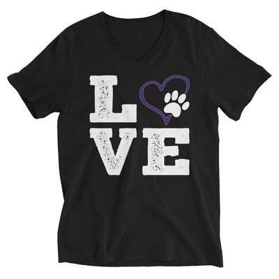 LOVE PAWS purple - Unisex - V-Neck Tee - Bella+Canvas 3005