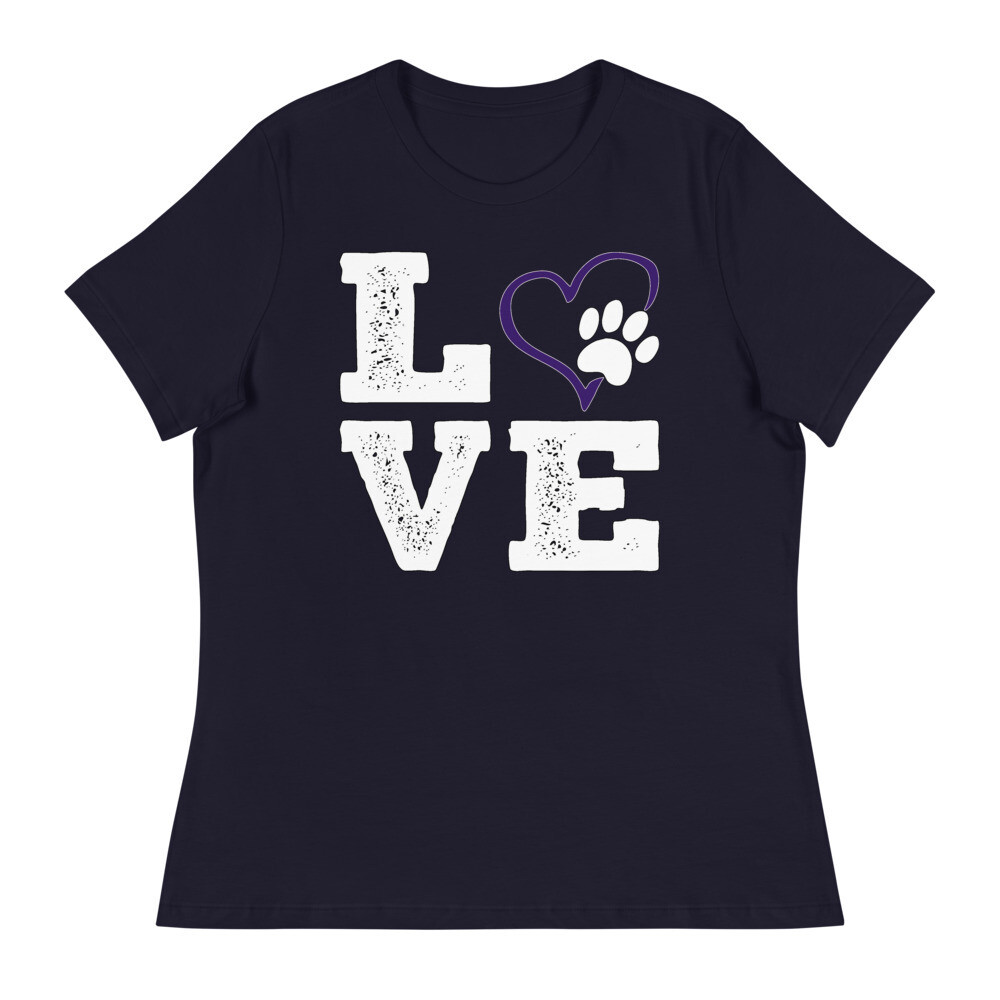 LOVE PAWS purple - Women's - Relaxed T-Shirt - Bella+Canvas 6400