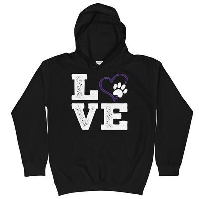 LOVE PAWS purple - Youth - Hoodie