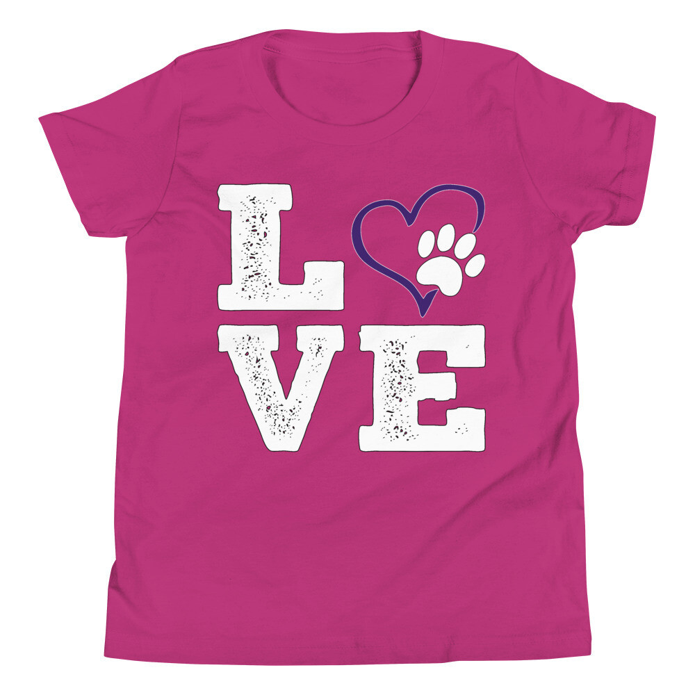 LOVE PAWS purple - Youth - Premium Tee - Bella+Canvas 3001Y