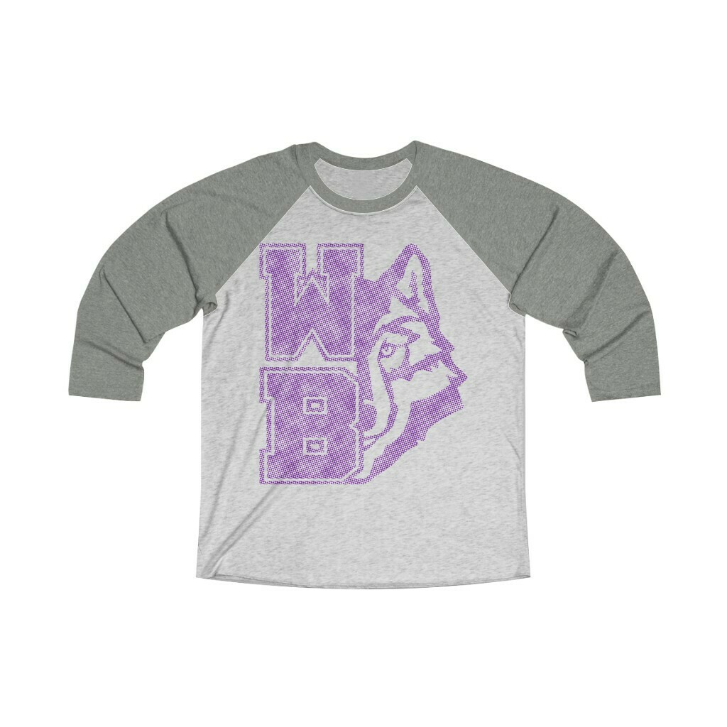 *WB Wolf (PW) -Unisex - 3/4 Sleeve Raglan Shirt - Next Level 6051