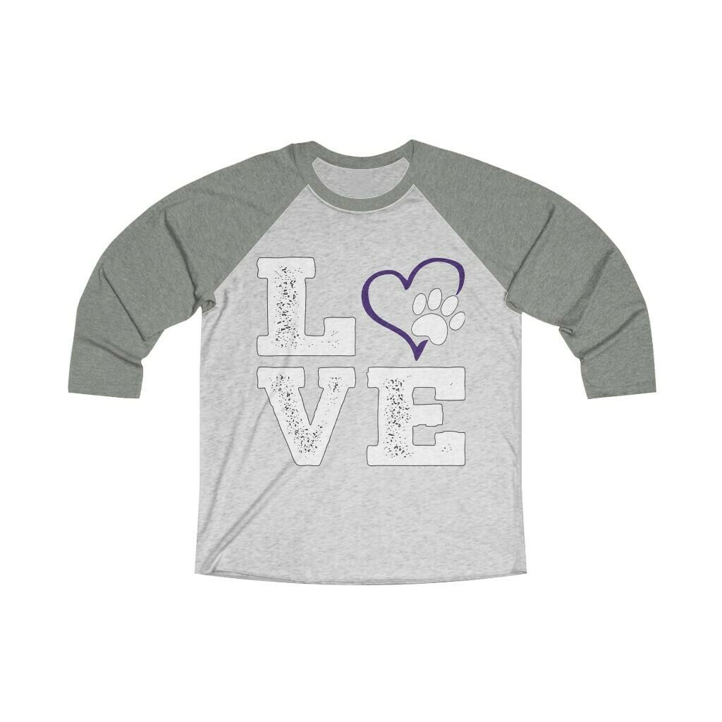 *LOVE PAWS purple - Unisex - 3/4 Sleeve Raglan Shirt - Next Level 6051
