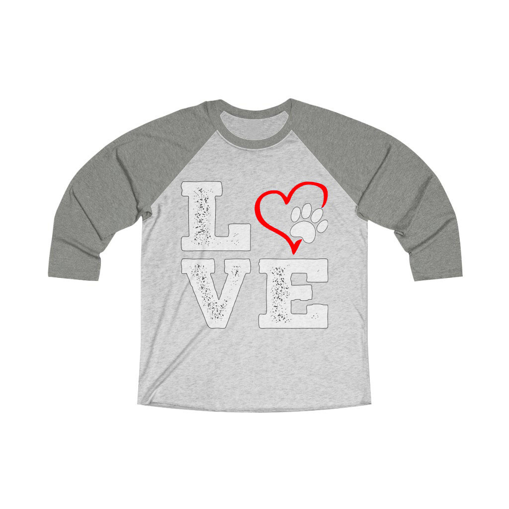 *LOVE PAWS red - Unisex - 3/4 Sleeve Raglan Shirt - Next Level 6051