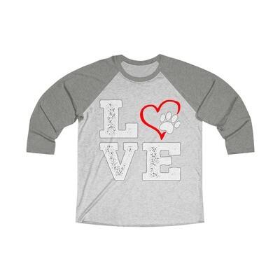 *LOVE PAWS red - Unisex - 3/4 Sleeve Raglan Shirt - Next Level 6051