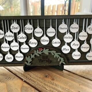 Christmas Family Name Sign - white ornaments - 2-10 names