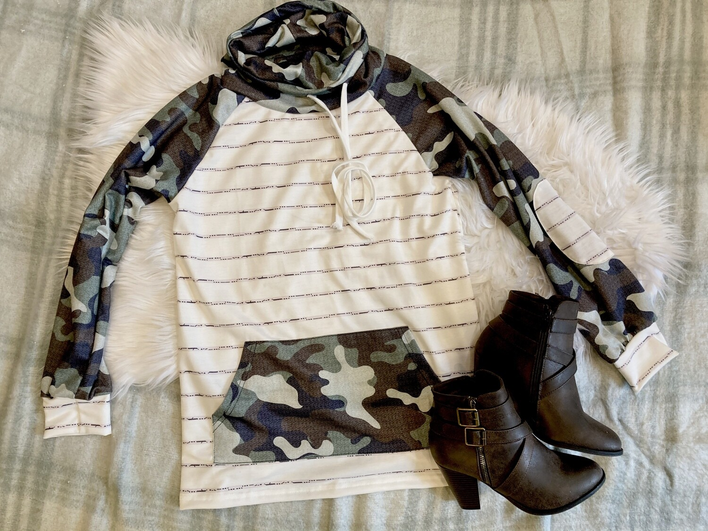 Cowl Neck Stripped Camo Long Sleeve Shirt
