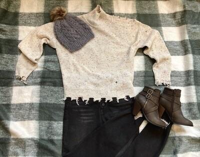 Confetti Cold Shoulder Sweater