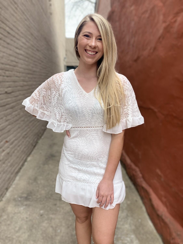 Sweet V White Ruffle Mini Dress