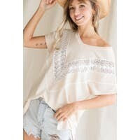 Cream & White V Neck Lace