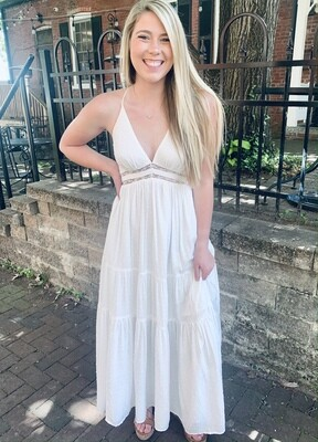 White Lace Trim Back Dress