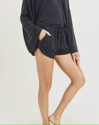 Mineral Wash French Terry Black Shorts