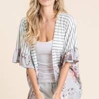 Danielle Striped Floral Ruffle Kimono