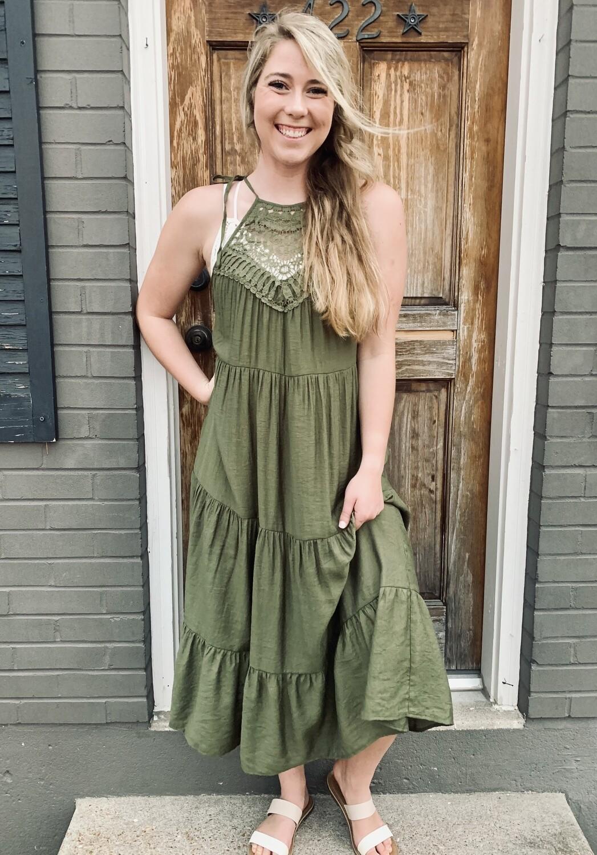 Olive Lace Halter Dress