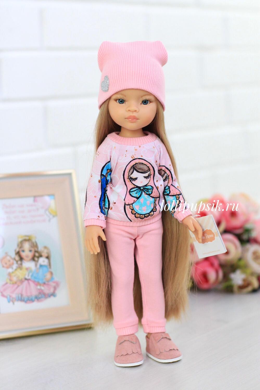 Кукла Маника с волосами до щиколоток (Рапунцель) в розовой одежде (пижама в комплекте), Паола Рейна, 34 см
