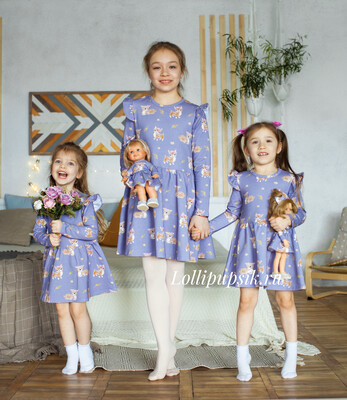 Платье с длинным рукавом «Оленята»
