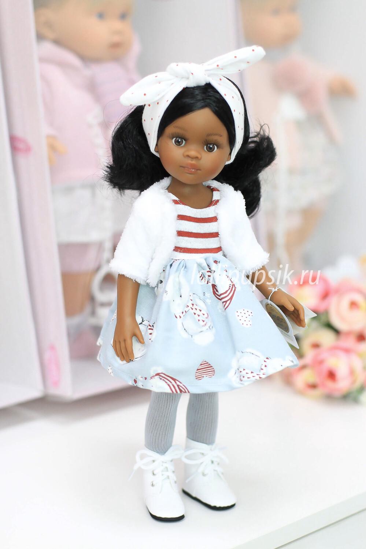 Кукла Нора из серии «подружки» с волосами по пояс, в платье и шубке (Paola Reina), 34 см