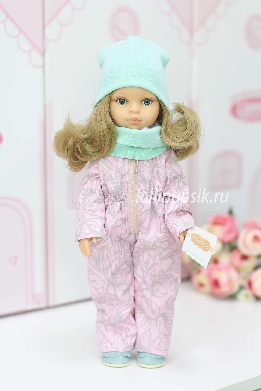 Кукла Карла с волосами по пояс в демисезонном комбинезоне, с голубыми глазами (Паола Рейна), 34 см