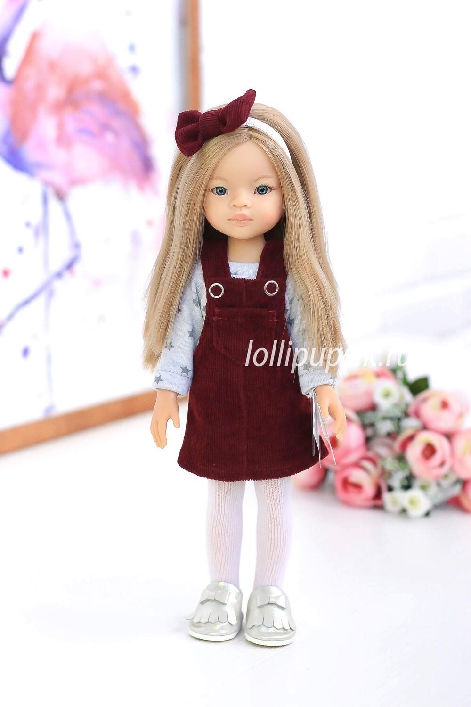 Кукла Маника с волосами по пояс, с голубыми глазами с стильном наряде  (Паола Рейна), 34 см