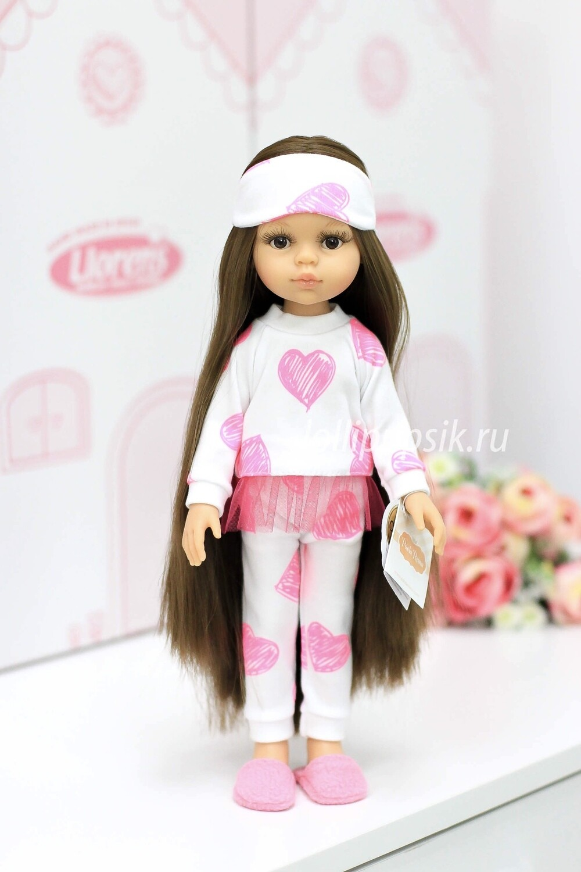 Кукла Кэрол Рапунцель с длинными волосами в пижаме с сердечками (Паола Рейна), 34 см