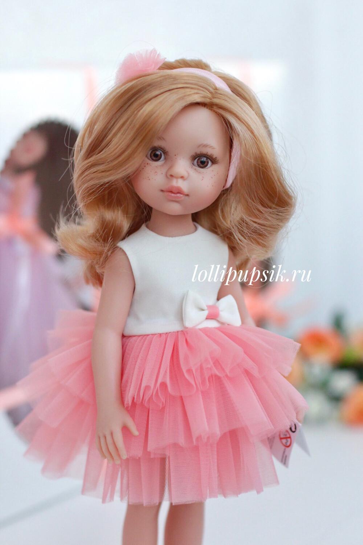 Кукла Даша с волосами по пояс без челки в платье (Паола Рейна), 34 см