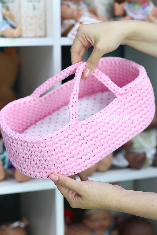 Плетёная переноска для кукол до 26 см, цвет розовый, матрас в комплекте