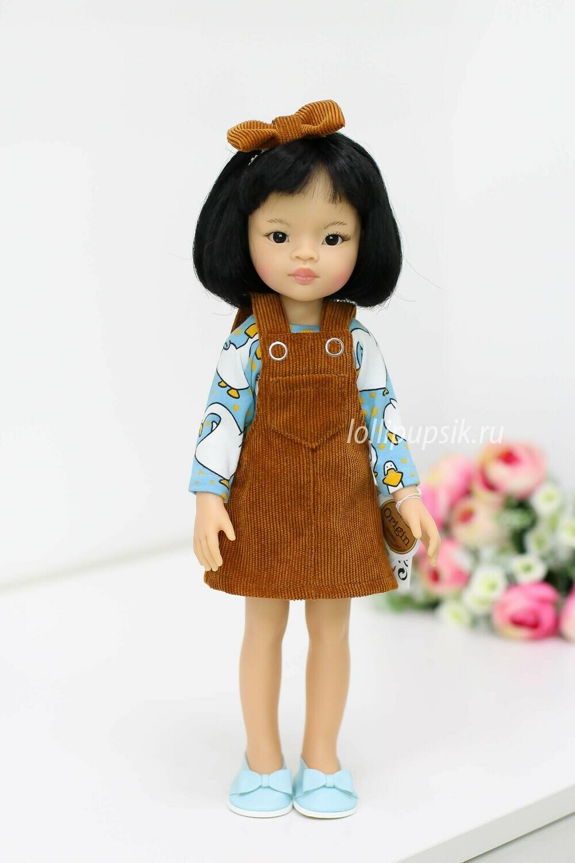 Кукла Лиу с каре в модном сарафане Паола Рейна, 34 см