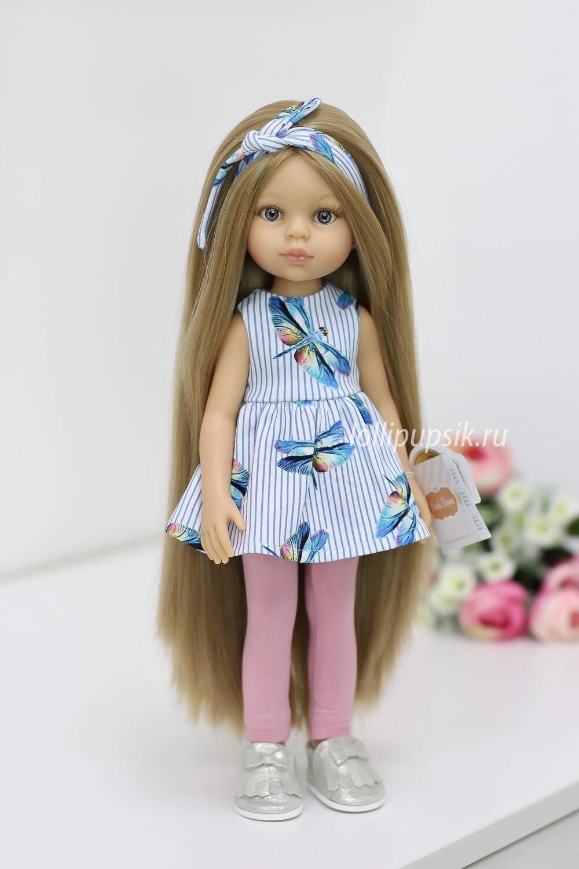 Кукла Карла Рапунцель с серо-голубыми глазами в модном костюме (пижама в комплекте), Паола Рейна , 34 см
