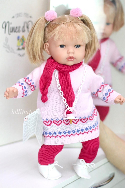 Кукла Тита (Tita) в вязаном платье, 45 см