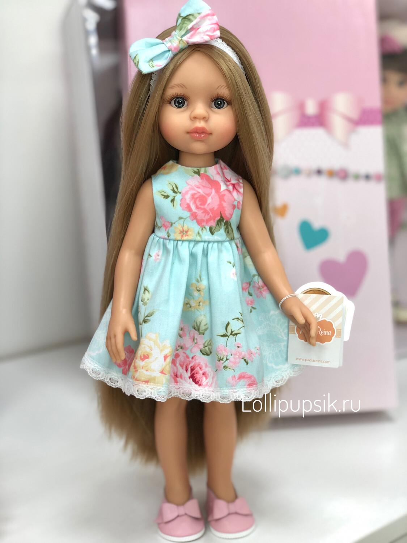 Кукла Карла Рапунцель с серо-голубыми глазами в летнем наряде, Паола Рейна , 34 см