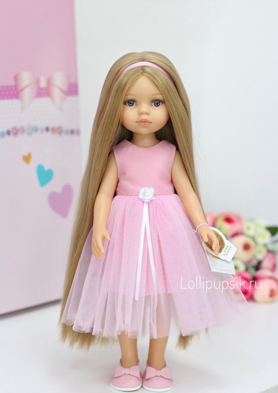 Кукла Карла Рапунцель с серыми глазами в платье Паола Рейна (пижама в комплекте), 34 см