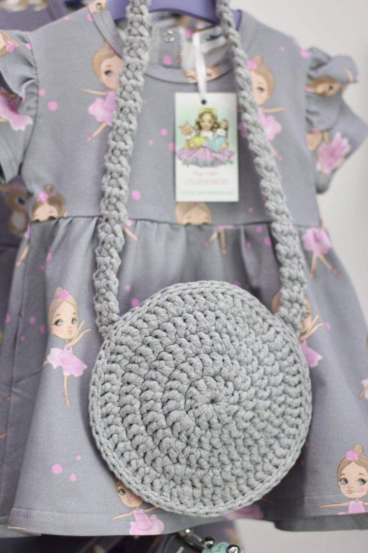 Плетеная детская сумочка ручной работы, цвет серый