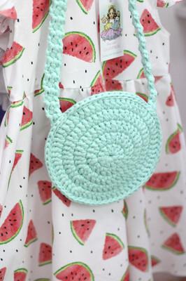 Плетеная детская сумочка, цвет мятный