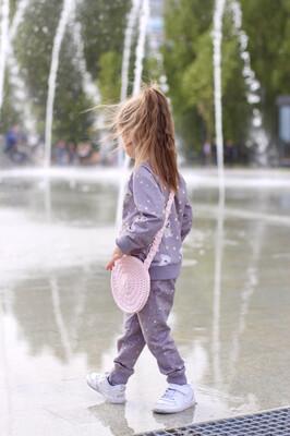 Плетеная детская сумочка, цвет светло-розовый