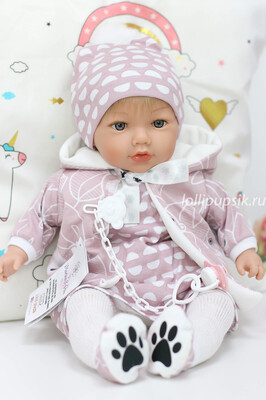 Кукла мягконабивная Alina, со звуковым механизмом, Marina&Pau, 45 см