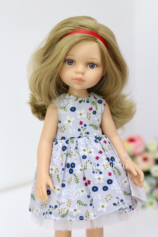 Кукла Карла с серыми глазами, с волосами по пояс в платье (Паола Рейна), 34 см
