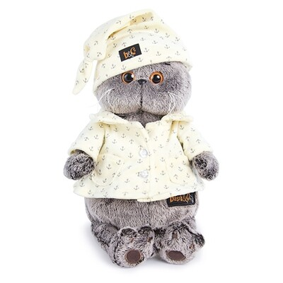 BUDI BASA Мягкая игрушка Басик в пижаме - 22 см в положении сидя